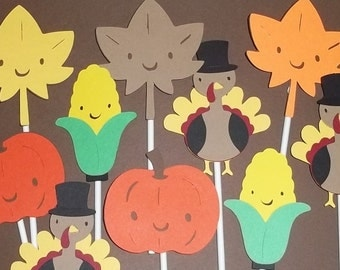 set of 12 thanksgiving cupcake toppers fall decorations fall cake toppers turkey - Harvest Decorations