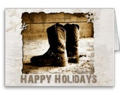 Cowboy's Rustic Boots Christmas Greeting Holiday Greeting Card Size