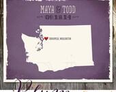 Washington State USA Custom Purple Eggplant Wedding Print Destination Wedding Gift Memento Couple print Guest Books Wedding Signature