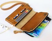 Beige Bifold leather  phone  wallet  wristlet   with large zipper