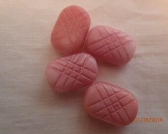 Vintage Pink & White Marbled Pillow shaped Glass Beads West German 1950's PJsBeadedEagle