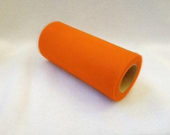 6 Inch Tulle Spool 25 Yards Orange- 1