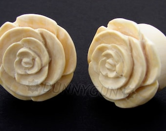 "11/16"" Pair Hand Carved Javanese Coffeewood Rose Wood Plugs Organic Body Piercing Jewelry Gauge Earrings"