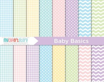 Digital Paper - Baby Basics / Pastel Patterns - Instant Download