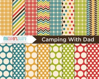 Digital Paper Camping with Dad / Outdoors - Instant Download