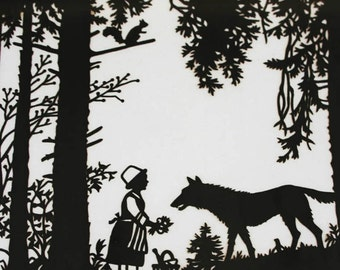 Vintage Little Red Riding Hood Framed Picture Silhouette Scherenschnitte 1950s
