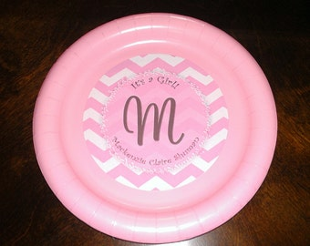Pink chevron monogrammed plates stickers for birthdays or baby showers