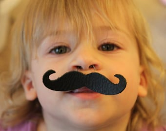 Wearable Leather Moustache - Hand Made. Reuseable. Fully Adjustable. One size fits all. Fun for all.