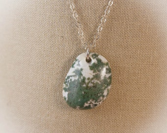 Green Tree Moss Agate Sterling Silver Necklace