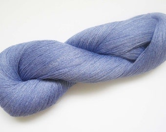 Skein of linen yarn, blue yarn, linen yarn