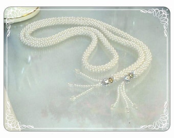 Vintage Sautoir - Pearl Bead Necklace with Tassels   -   Neck-1786a-051713000