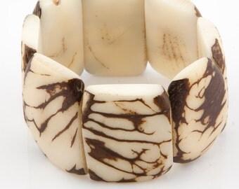 SALE 30% Off / Patterned Tagua Nut Bracelet / Tagua Jewelry / Tagua Bracelet / Statement Bracelet / Ivory White Bracelet / Tagua Nut Jewelry