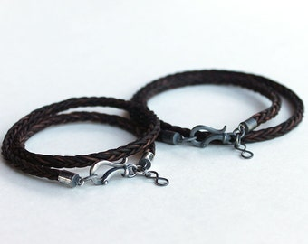 Couples sterling bracelets matching His and Hers Leather braided bracelets with infinity charms