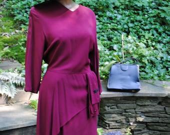 "1940 Purple Crepe Dress with Peplum Shirring Sequins Vintage Old Hollywood Medium size 36""/30"""