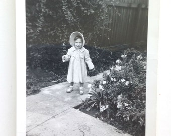 Vintage Girl in Bonnet and Coat talking a walk Photo Snapshot Black and White