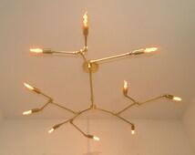 Spithra 10-Bulb Brass Chandelier - Brushed Brass