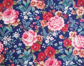 Navy ground with Pink Roses Cotton Fabric Yardage Concord Fabrics, designed by the Kesslers, Red and Tan Pansies, Quilts, Country Decor
