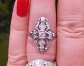 Antique 14k Gold Diamond Ring size 9