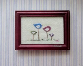 OOAK Birds Felt Art Frame