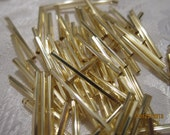 30mm, Cut Glass Bugle Beads, Silver-Lined Pale Gold, #17020 - 20 grams or, choose a Larger Pkg from the 'Select an Option' menu