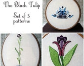 Tulip Embroidery Pattern Set - The Black Tulip - Dumas - PDF Instant Download - Includes Stitch Guide