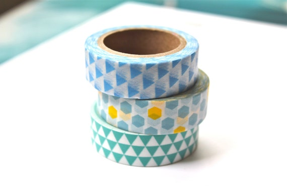 3 Rolls Washi Tape Set - Assorted Masking Tapes - Blue Triangles - Honeycomb -  Aqua Bunting Flags - Washi Tape Set - 10 meters per roll