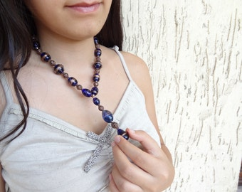 Brown,Navy Blue Glass Bead Necklace, Women's Jewelry, Beaded Necklace, Elegance,Feminine Necklace, OOAK, Valentine's, Mother's Day Gift