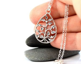All Sterling Tree Of Life Teardrop Necklace, Dainty Sterling  Necklace Minimalist Tree Life