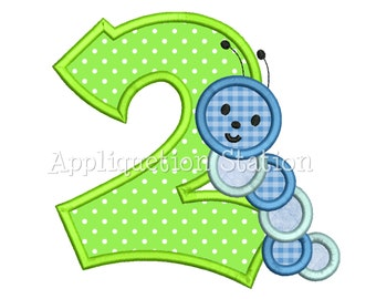 Number 2 Two Caterpillar Wiggly Worm Birthday Applique Machine Embroidery Design Download 2nd second INSTANT DOWNLOAD