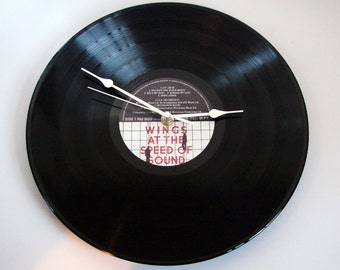 "WINGS Vinyl Record Clock made from original recycled vinyl record album ""Speed of Sound"" Paul McCartney Lynda The Beatles Rock gift ooak LP"