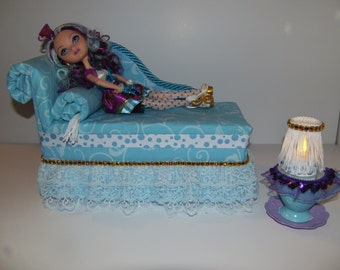 Furniture for Ever After High Dolls Handmade Chaise Lounge Bed for Madeline Hatter with Tea Cup Table and  Working Lamp!