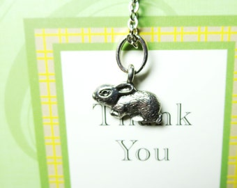 sale Bunny necklace -Silver Bunny Necklace -little Rabbit Charm on a Delicate 17 Inch Chain with  Free  gift