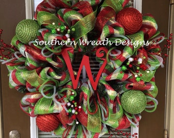 "32"" Red, Silver and Lime Deluxe Initial Christmas Wreath"