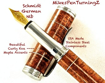 Custom Wooden Pen  Hand Turned Custom Fountain Pen Beautiful Curly Koa Maple accents and Made In USA Stainless Steel Components 628FPSSF