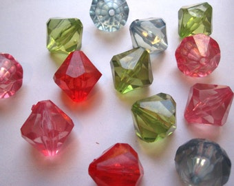 Large Bicone Beads, 4 pcs 26mm Mixed Lot Faceted Translucent Bead, Acrylic Bead, Plastic Bead, Necklace Bead
