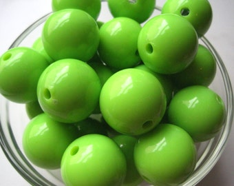 Big Gumball Beads, 24mm Lime Green Beads, 4 pcs, Bubblegum Bead, Acrylic Bead, Necklace Bead
