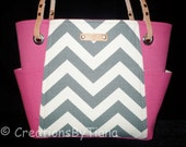 Gray and Hot Pink Chevron - Bag - Purse - Handmade - Handbag - Spring - Summer - Shoulder Bag - leather handles
