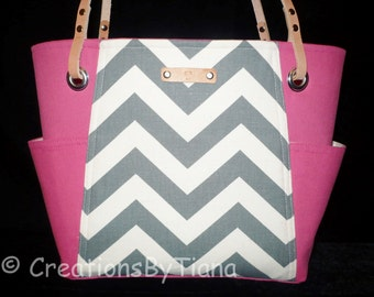 Gray and Hot Pink Chevron - Bag - Purse - Handmade - Handbag - Spring - Summer - Shoulder Bag - leather handles