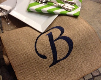 Burlap Monogram Runner - Natural burlap embroidered - personalized - 12 inch by 7 feet