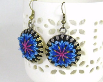 Hand embroidered earrings with blue cornflowers