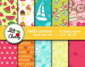 Hello summer -10 printable Digital Scrapbooking papers - 12 x12 - 300 DPI