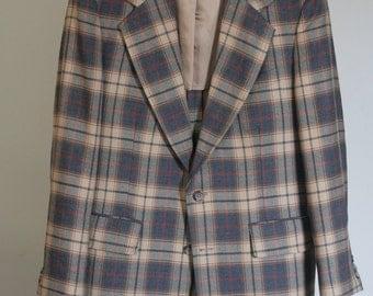vintage men's plaid wool sport coat size 42