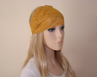 Mustard stretchy wide lace headband, yoga headband,  yellow turban headband,bandana headband, hair band Headband, flower lace headband woman