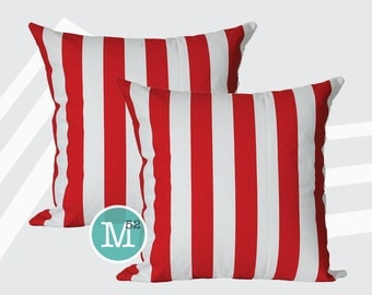 Red Stripe Canopy Pillow Covers Shams - 18 x 18, 20 x 20 and More Sizes - Zipper Closure- dc1820