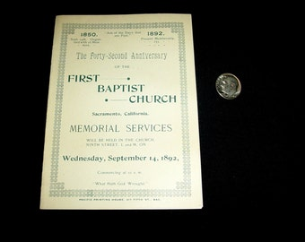 1892 Sacramento First Baptist Church 42nd Anniversary Memorial Services Program, Mint