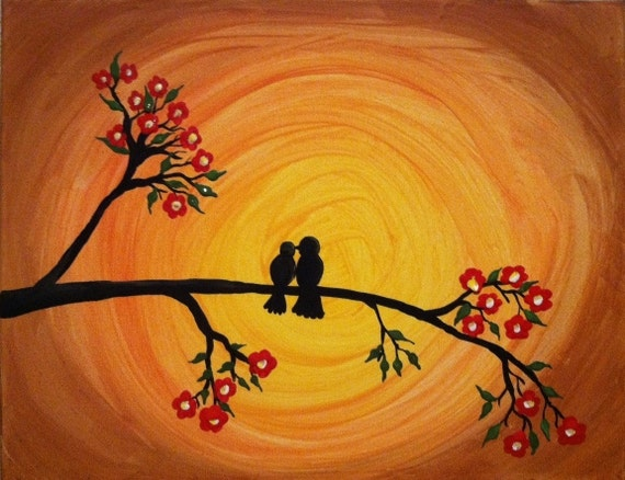 Items Similar To Together 4ever Bird Silhouette Painting
