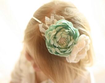 Mint and Ivory Flowergirl Headband - Mint Headband - Ivory Headband - Bridesmaid Headband - Mint Flowergirl - Mint Wedding