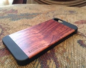 IPHONE 5 OR  5S  case , real wood hand polished exotic  rosewood  ,  back ,sharp looking black edge