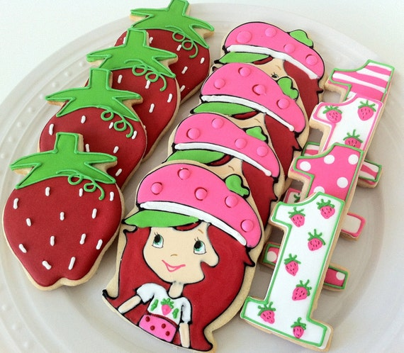 Strawberry Shortcake decorated cookies, great birthday party favors ...