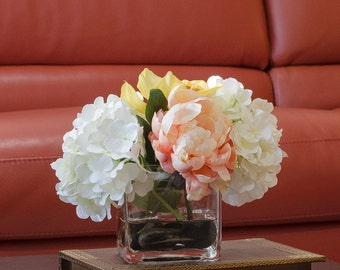 Hydrangea Orchid Silk Peonies Arrangement in White Peach with Real Touch Artificial Orchid Flowers in Square Glass Vase